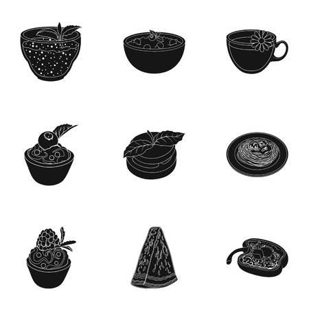 Photos sur le végétarisme. Plat végétarien, nourriture végétarienne. Légumes, fruits, herbes, champignons. Icône de vaisselle végétarienne dans la collection de set sur l'illustration stock de vecteur de vecteur de style noir. Banque d'images - 75895578