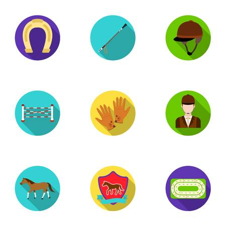 equipping: Races on horseback, hippodrome. Horse racing and equipping riders.Hippodrome and horse icon in set collection on flat style vector symbol stock illustration. Illustration