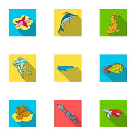 inhabitants: Marine and river inhabitants. Fish, whales, octopuses.Sea animals icon in set collection on flat style vector symbol stock illustration.