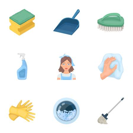 icons: Cleaning, washing and everything connected with it. A set of icons for cleaning. Cleaning and maid icon in set collection on cartoon style vector symbol stock illustration.