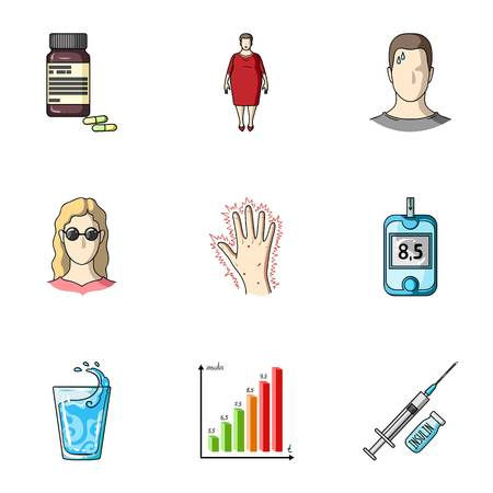 糖尿病についてアイコンのセット。症状と糖尿病治療。糖尿病アイコン漫画スタイルのベクトル シンボル ストック イラストをセットのコレクショ  イラスト・ベクター素材