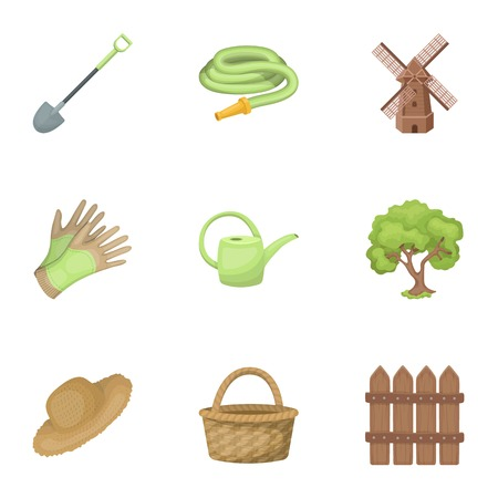 Set of pictures about gardening. Village, vegetable garden, garden, ecology.Farm and Gardening icon in set collection on cartoon style vector symbol stock illustration.