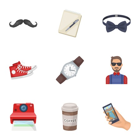 peculiar: A set of icons about the style of a hipster. A peculiar youth style. Hipster style icon in set collection on cartoon style vector symbol stock illustration.