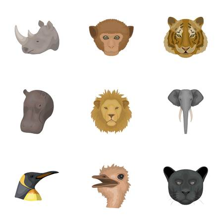 A set of icons of wild animals. Predatory and peaceful wild animals. Illustration