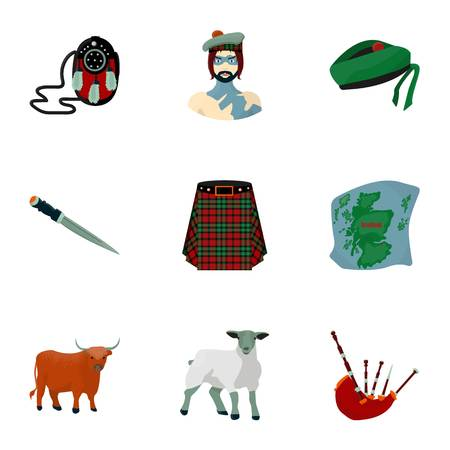 National symbols of Scotland. Scottish attractions. Scotland country icon in set collection on cartoon style vector symbol stock illustration. Illustration