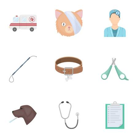 anesthesia: Vet clinic. Treatment of sick animals. Hospital for animals.Vet clinic icon in set collection on cartoon style vector symbol stock illustration.