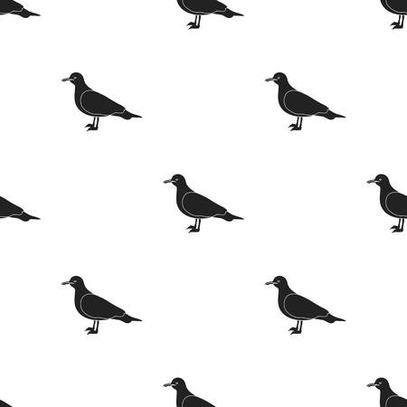 Seagull icon in black style isolated on white background. Bird pattern stock vector illustration.