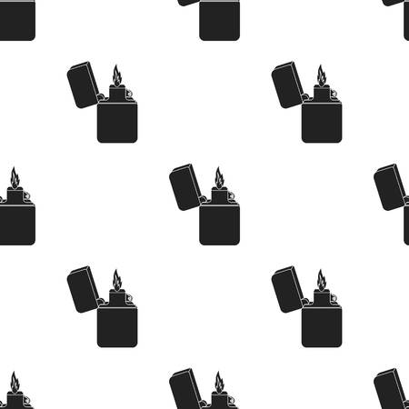 gas lighter: Lighter icon in black style isolated on white background. Light source pattern stock vector illustration Illustration