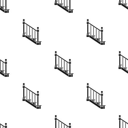 upstairs: Stairs icon in black style isolated on white background. Sawmill and timber pattern stock vector illustration. Illustration