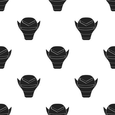 Superheros helmet icon in black style isolated on white background. Superheros mask pattern stock vector illustration. Illustration