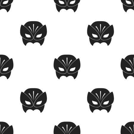 Full head mask icon in black style isolated on white background. Superheros mask pattern stock vector illustration. Illustration