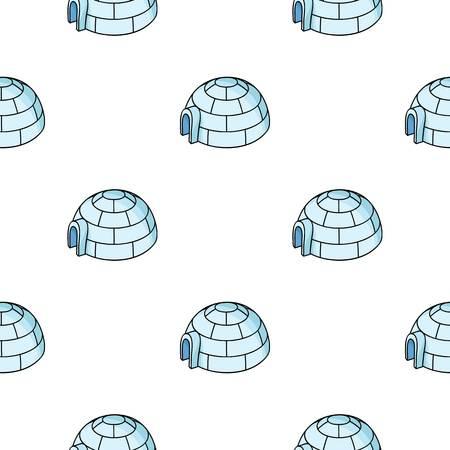Igloo icon in cartoon style isolated on white background. Ski resort pattern stock vector illustration.