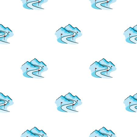 Icône de piste de ski en style cartoon isolé sur fond blanc. Illustration de vecteur stock modèle de station de ski. Banque d'images - 76147895