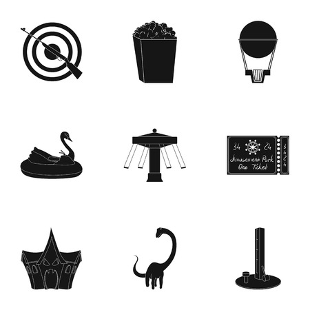 targets: The amusement Park rides. The attributes of a recreational Park, panic room, cotton candy.Amusement Park icon in set collection on black style vector symbol stock illustration.
