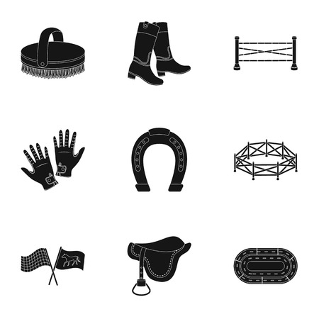 horse care: Races on horseback, hippodrome. Horse racing and equipping riders.Hippodrome and horse icon in set collection on black style vector symbol stock illustration. Illustration