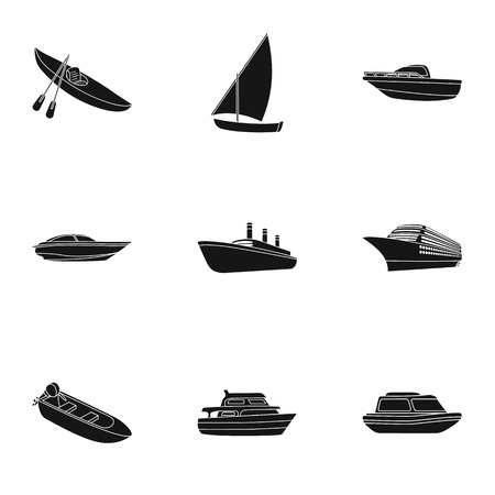 thunderstorms: Sea transport, boats, ships. To transport people, thunderstorms. Ship and water transport icon in set collection on black style vector symbol stock illustration. Illustration