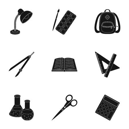 scissors: Set of pictures about the school. Study training. Supplies for school.Outfit of the student. School and eduacation icon in set collection on black style vector symbol stock illustration.