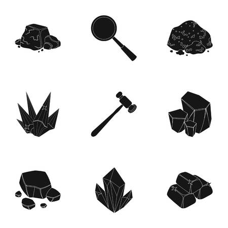 A set of jewelry, crystals, minerals and expensive metals. The jeweler inspects the ornaments.Precious minerals amd jeweler icon in set collection on black style vector symbol stock illustration.
