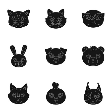 grey cat: Wild and domestic animals. A set of pictures about animals. Animal muzzle icon in set collection on black style vector symbol stock illustration.