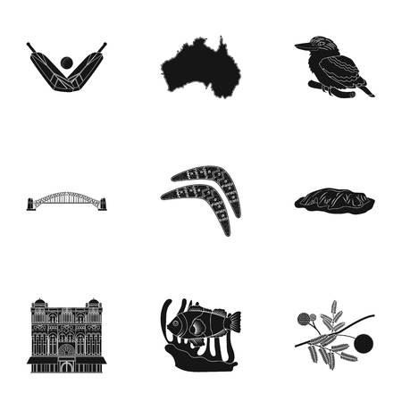 National symbols of australia. Web icon on Australia theme.Australia icon in set collection on black style vector symbol stock illustration.