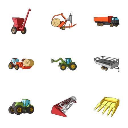 Conjunto de imágenes sobre maquinaria agrícola. Carros a los robots al ground.Agricultural Maquinaria icono en la colección de conjunto de estilo de dibujos animados vector de símbolo stock photography.