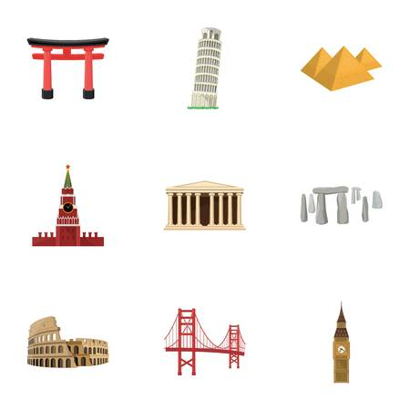 sights: Sights of the countries of the world. Famous buildings and monuments of different countries and cities. Countries icon in set collection on cartoon style vector symbol stock illustration.