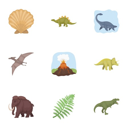 tyrannosaurs: Ancient extinct animals and their tracks and remains. Dinosaurs, tyrannosaurs, pnictosaurs.Dinisaurs and prehistorical icon in set collection on cartoon style vector symbol stock illustration. Illustration