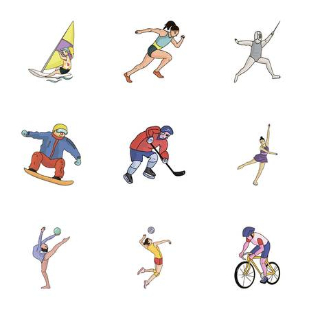Winter and summer sports. A set of pictures about athletes. sports icon in set collection on cartoon style vector symbol stock illustration.