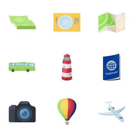 plate camera: Set of icons on the theme of rest. Travel abroad. Rest ang travel icon in set collection on cartoon style vector symbol stock illustration.
