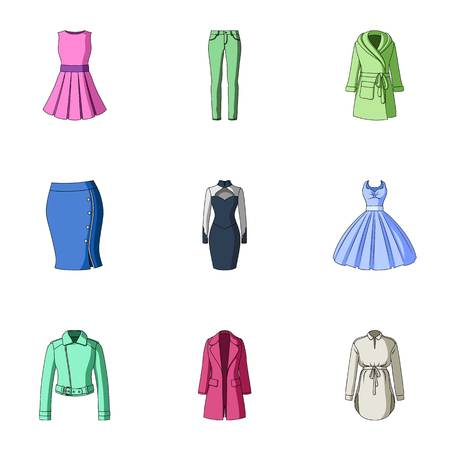 womens work: Collection of icons of womens clothing. Various womens clothes for work, walking, sports. Women clothing icon in set collection on cartoon style vector symbol stock illustration.