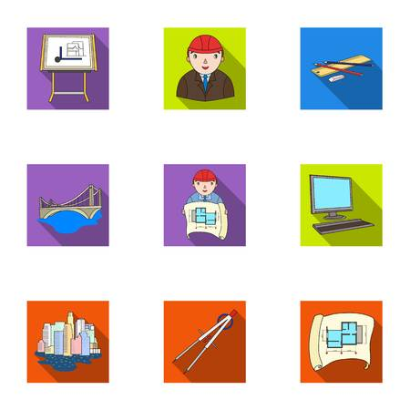 architect drawing: A set of icons on the theme of construction and architects. Builders, architects, and subjects for construction . Architect icon in set collection on flat style vector symbol stock illustration.