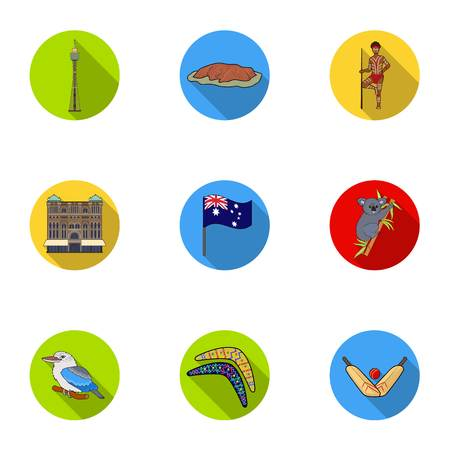 National symbols of australia. Web icon on Australia theme.Australia icon in set collection on flat style vector symbol stock illustration. Illusztráció
