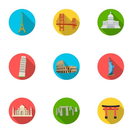sights: Sights of the countries of the world. Famous buildings and monuments of different countries and cities. Countries icon in set collection on flat style vector symbol stock illustration.