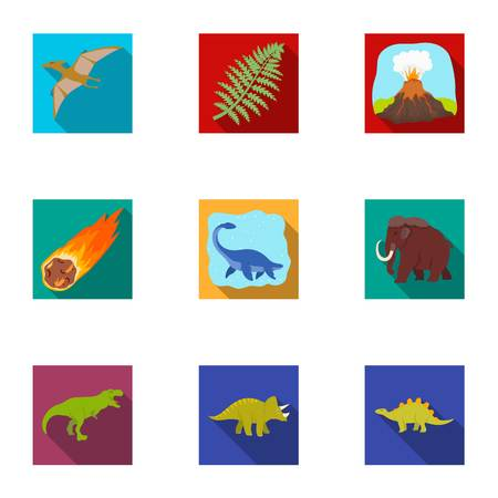 tyrannosaurs: Ancient extinct animals and their tracks and remains. Dinosaurs, tyrannosaurs, pnictosaurs.Dinisaurs and prehistorical icon in set collection on flat style vector symbol stock illustration. Illustration