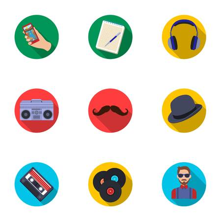 A set of icons about the style of a hipster. A peculiar youth style. Hipster style icon in set collection on flat style vector symbol stock illustration.
