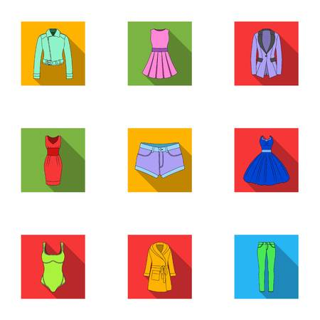 womens work: Collection of icons of womens clothing. Various womens clothes for work, walking, sports. Women clothing icon in set collection on flat style vector symbol stock illustration.