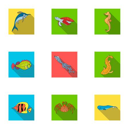 Marine and river inhabitants. Fish, whales, octopuses.Sea animals icon in set collection on flat style vector symbol stock illustration. Stok Fotoğraf - 76167455