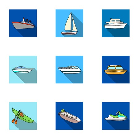 thunderstorms: Sea transport, boats, ships. To transport people, thunderstorms. Ship and water transport icon in set collection on flat style vector symbol stock illustration.