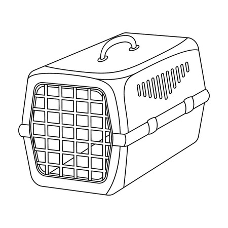 cat carrier: Container for animals.Pet shop single icon in black style vector symbol stock illustration web.