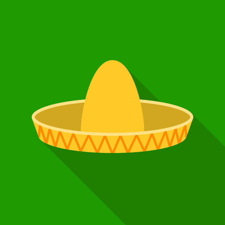 Sombrero icon in flat style isolated on white background. Hats symbol stock vector illustration. Illustration