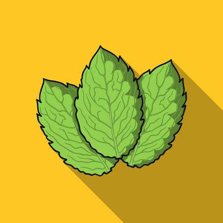 Mint icon in flat style isolated on white background. Herb an spices symbol stock vector illustration.
