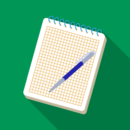 note pad: Notebook and pen icon in flat style isolated on white background. Hipster style symbol stock vector illustration.