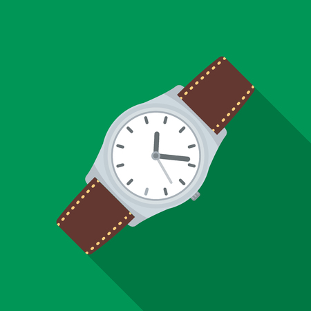 Classic wrist watch icon in flat style isolated on white background. Hipster style symbol stock vector illustration. Illustration