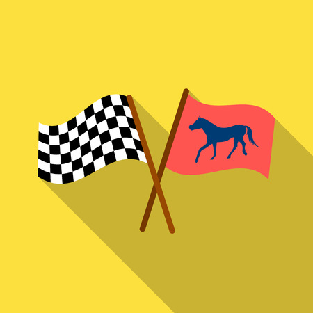 Crossed checkered and equestrian flags icon in flat style isolated on white background. Hippodrome and horse symbol stock vector illustration.