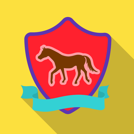 Equestrian blaze icon in flat style isolated on white background. Hippodrome and horse symbol stock vector illustration.
