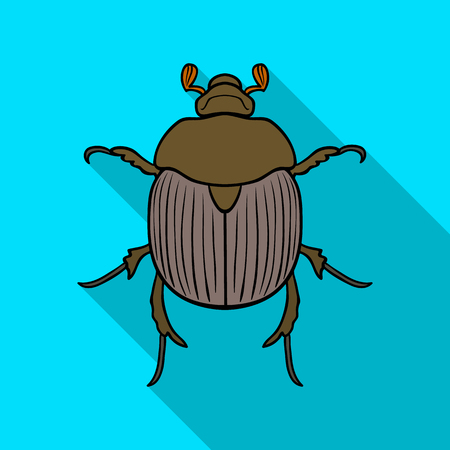 Dor-beetle icon in flat style isolated on white background. Insects symbol stock vector illustration.