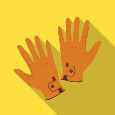 Jockeys gloves icon in flat style isolated on white background. Hippodrome and horse symbol stock vector illustration.