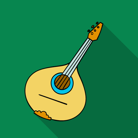 Italian mandolin icon in flat style isolated on white background. Italy country symbol stock vector illustration.