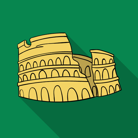 flavian: Colosseum in Italy icon in flat style isolated on white background. Italy country symbol stock vector illustration. Illustration
