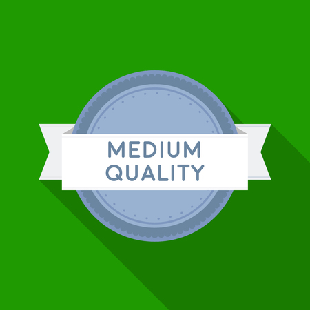 Medium quality icon in flat style isolated on white background. Label symbol stock vector illustration.